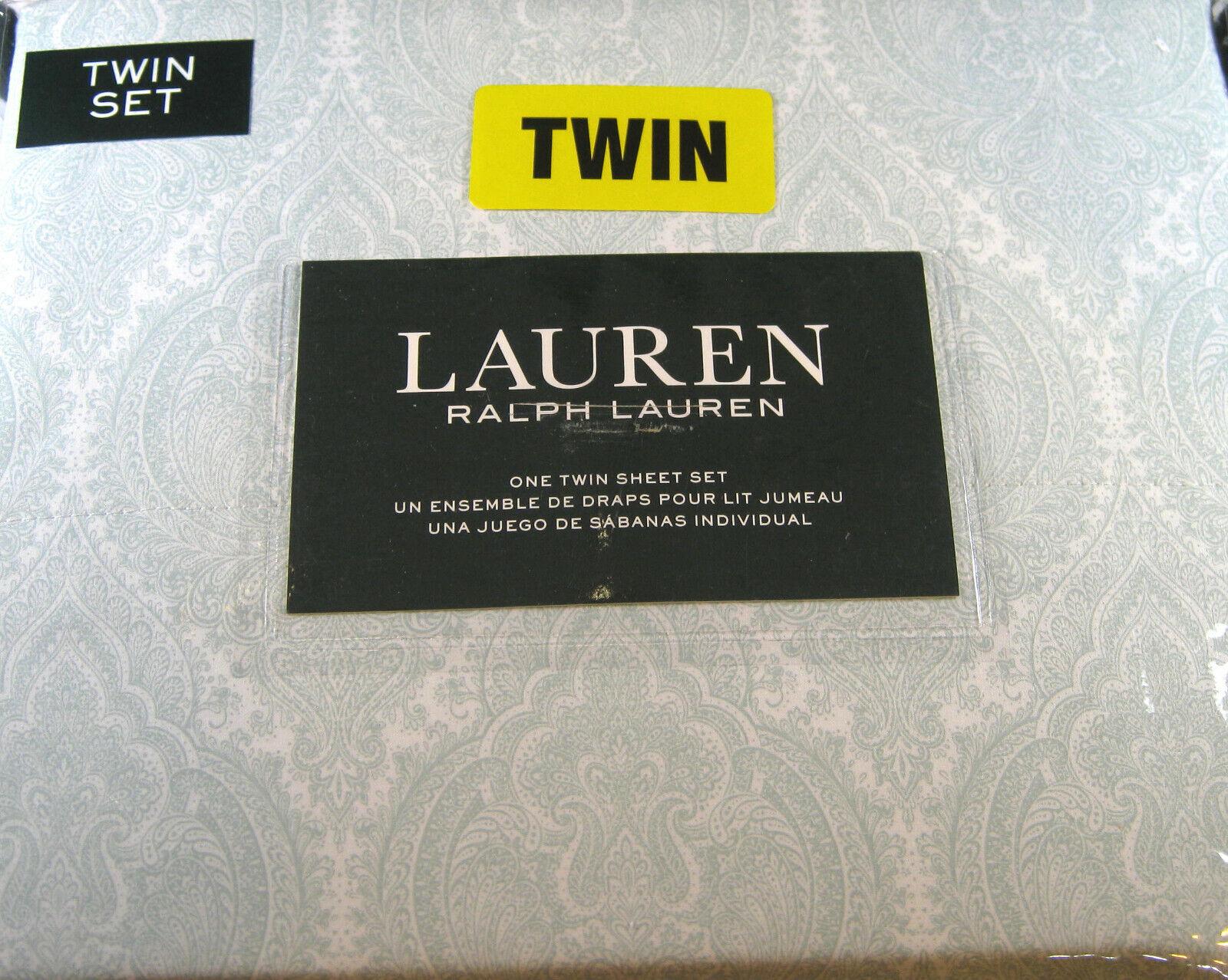 Ralph Lauren Lauren Lauren 3 Piece Light Sage Grün Paisley Twin Größe Sheet Set 100% Cotton 7e991e
