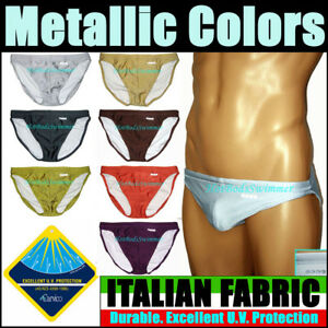 Bods-Low-Rise-Men-039-s-Swimwear-Metallic-Colors-Italian-Fabric-Briefs-Tanga-Style