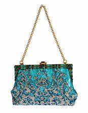 DOLCE   GABBANA Bag VANDA Blue Clear Crystal Gold Evening Clutch Purse NWT   6900 ab4233d86814e
