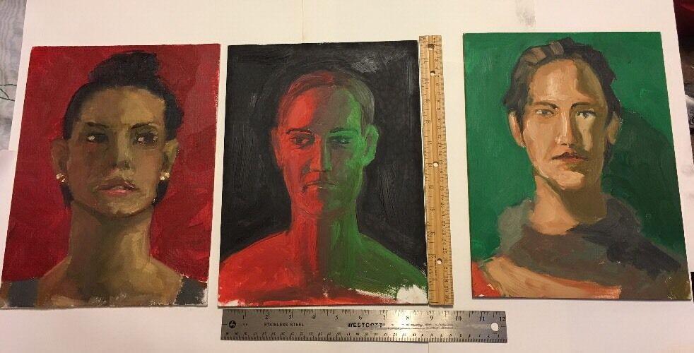 3 Oil Paintings Triptych Canvas Board Masonite Wall POP Art Men Women People 1