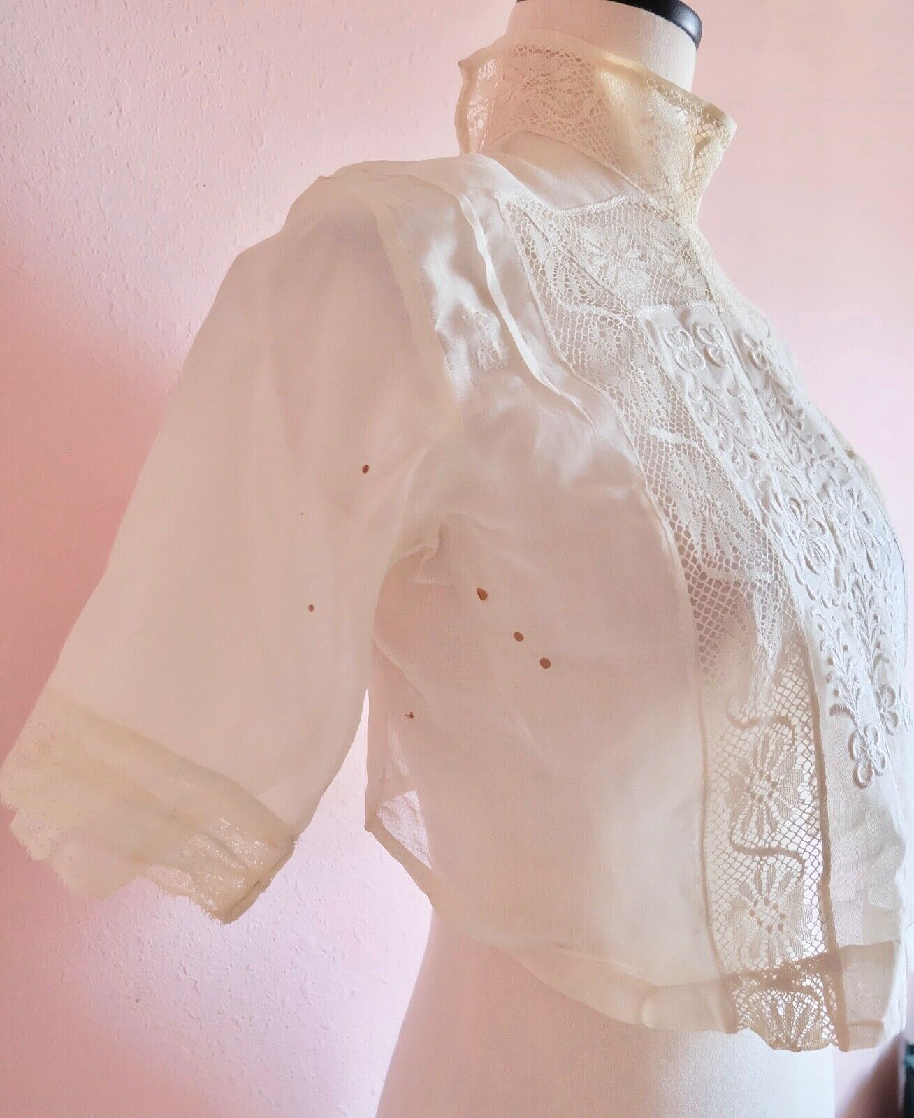 Antique Edwardian Women's Embroidered an Lace Ple… - image 4