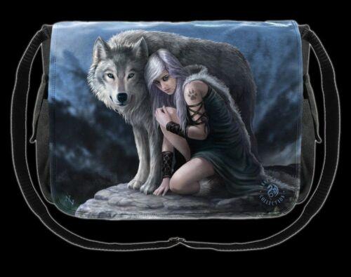 Borsa tracolla con Wolf-Protector by Anne Stokes-FANTASY MESSANGER BAG DA DONNA
