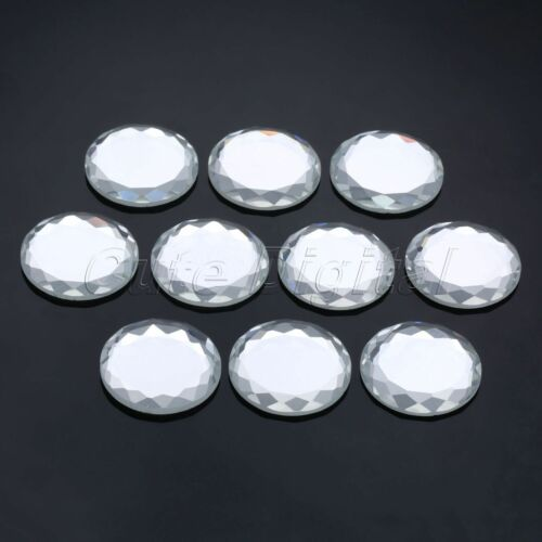 Glass Round Flatback Crystal Fancy Beads Clear 8 Size Jewelry Making Handmade