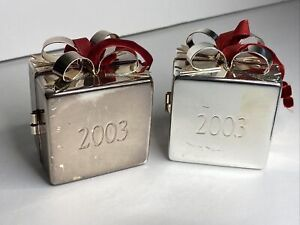 2 Silver Plated Present & Ribbon Bow Gift  Box Metal Christmas Ornaments 2003