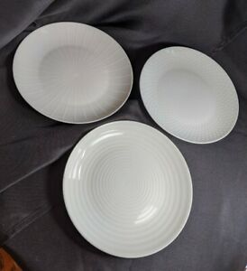 Set-of-3-MIKASA-Cheers-8-1-4-034-White-Salad-Plates-Different-Designs-Dots-Spiral