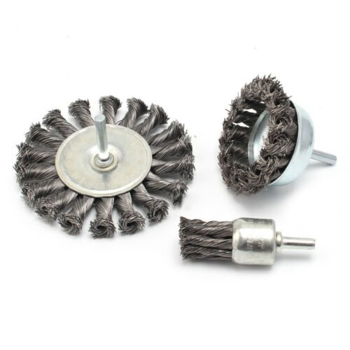 6*20/&75/&100mm Wire Knot End Brush Set With Shank Rotary Polishing Tool 3Pcs