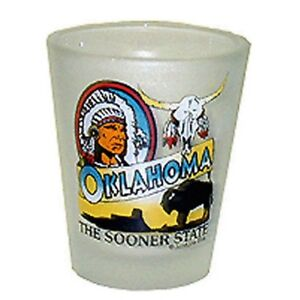OKLAHOMA FROSTED SOONER STATE SHOT GLASS SHOTGLASS