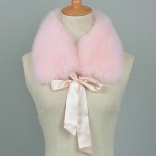 Women Real Fur Collar Scarf Shrug Wraps Bow Tie Neck Warmer Girls Winter 37202