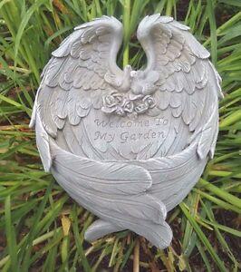 "Angel wings plaque latex w plastic backup concrete plaster mold 9"" x 7"""
