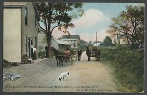 Olive-Ulster-Co-NY-c-1908-10-Postcard-BROWN-039-S-STATION-STREET-SCENE-Submerged