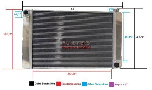 """Chevy Small Big Block Aluminum Radiator 31/"""" X 19/"""" Universal SBC BBC Hot Rat Rod"""