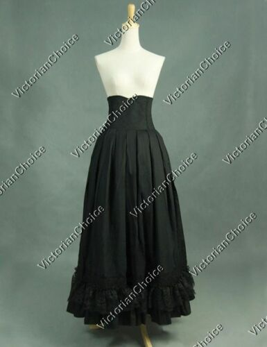 Victorian Skirts | Bustle, Walking, Edwardian Skirts    Victorian Edwardian Black Walking Skirt Punk Steampunk Women Clothing K035 $89.99 AT vintagedancer.com