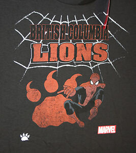 Marvel comics cfl canadian football bc lions spider man t for Bc lions t shirts