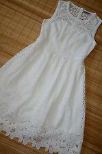 HALLHUBER wunderschönes Kleid Gr. 36 UK 8 neu mit Lochstickerei Weiß