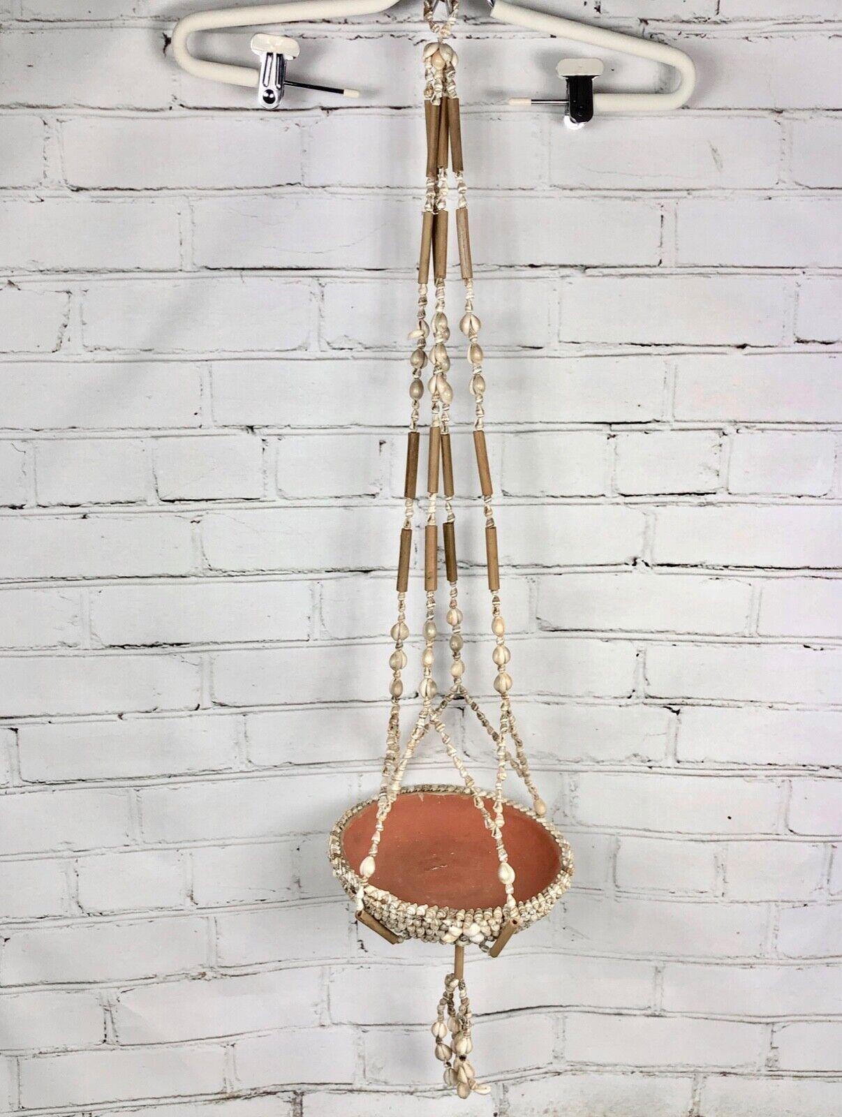 Planta Colgante Vintage 1970s Puka shell Soporte para decoración de casa de Jugara