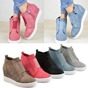 Women-Hidden-Wedge-Low-Mid-Heel-Ankle-Boots-Sneakers-Trainers-High-Top-Shoes-US