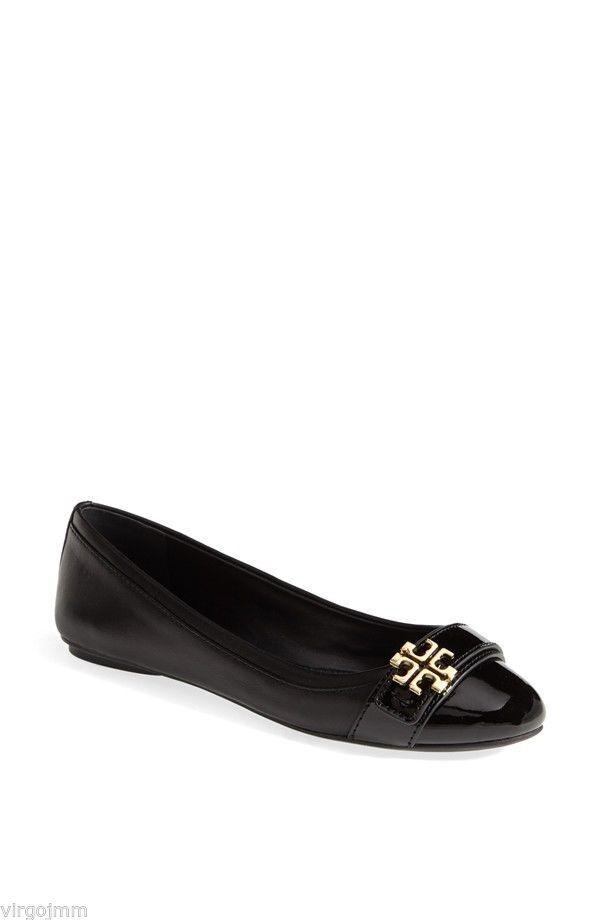 NIB Tory Burch Eloise Leather Ballet Flats shoes Black 9.5 M