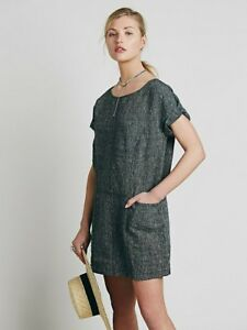 628925f0d9 NEW Free People Women s Black Linen Endless Shore Shift Dress Small ...