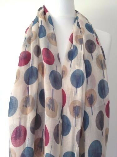 Beige Scarf Teal Pink Cream Grey Abstract Sketch Trees Wrap Ladies Shawl New