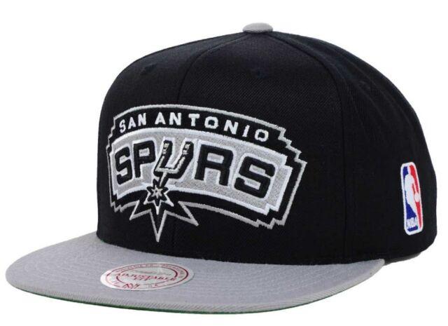 cheap for discount c8f82 0c80c San Antonio Spurs Mitchell   Ness 2 Tone XL Logo Snapback Hat Cap Black  Gray NBA