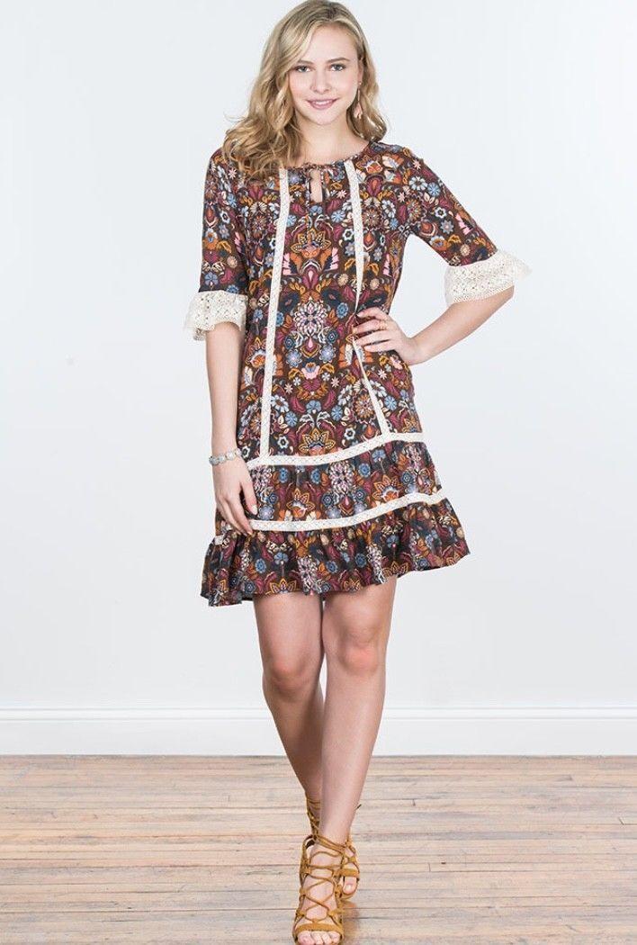 New Matilda Jane Intermission Dress Women's S Small Make Believe Lace Trim Fall