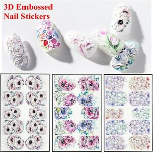 Beauty-DIY-Women-Fashion-3D-Engraved-Water-Decals-Nail-Stickers-Embossed-Flower