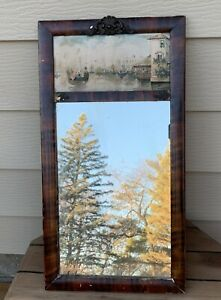 """Antique Tiger Striped Wood Gesso Frame 27"""" Wall Mirror w Italian Art Inset AS-IS"""