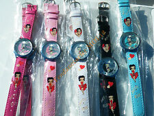 LOT 10 MONTRES BETTY BOOP PIN UP COQUIN CHARME FILLE FEMME CUIR ACIER