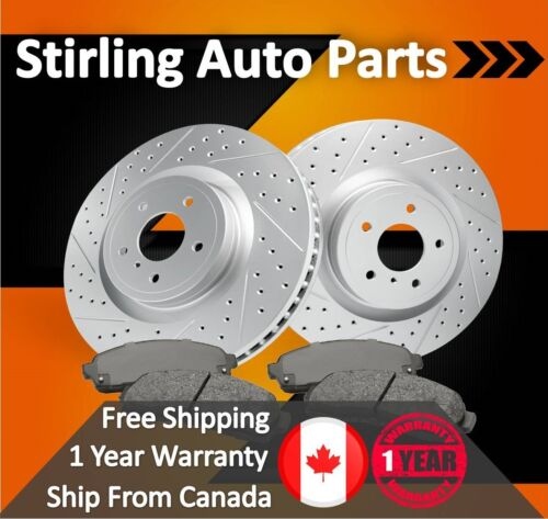 2003 2004 For Toyota 4Runner Coated Drilled Slotted Front Rotors and Pads 317mm