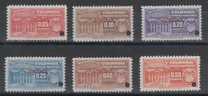 Colombia ca.1955 National Tax, 11mm red SPECIMEN ovpt & Security Punch, VF, MNH