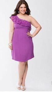 Lane-Bryant-crochet-purple-one-shoulder-dress-size-18-20-cotton