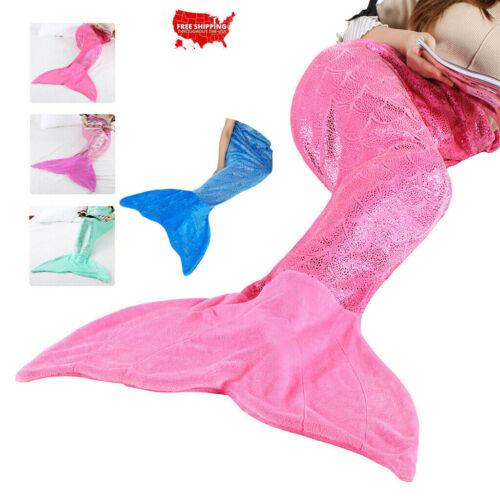 Soft Warm Mermaid Tail Sofa Flannel Blanket Snuggle Sleeping Wrap Bag Adult Kids