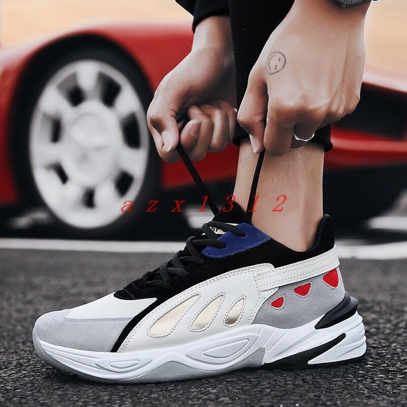Men Round Toe Lace Up Wedge Sneaker Athletic Joint color Casual shoes Basketball