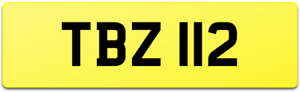 SHORT & SLIM DIGIT DATELESS AGE COVER VIP CAR REG PLATE TBZ 112 / TB TAB TJB ETC
