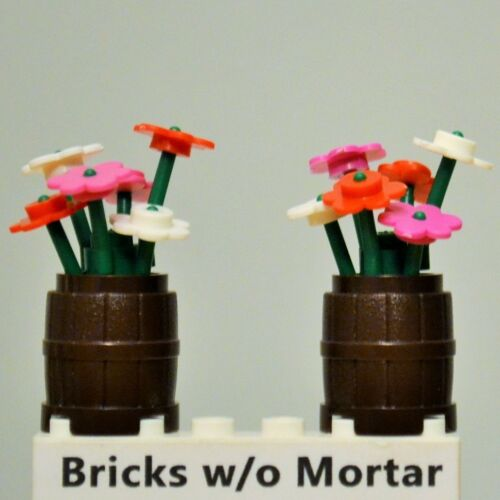 New Genuine LEGO Pink Red White Flowers & Green Plant Stems in Brown Barrels