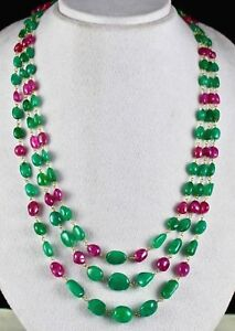 Details about NATURAL COLOMBIAN EMERALD BURMA RUBY BEADS GEMSTONE 18K GOLD  DIAMOND NECKLACE