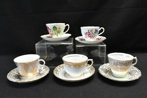 Colclough-Lot-of-5-Cups-amp-Saucers-Various-Patterns-Floral-and-Gold-Filigree