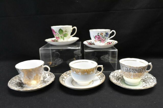 Colclough Lot of 5 Cups & Saucers Various Patterns Floral and Gold Filigree