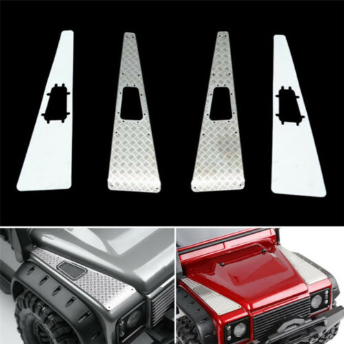 4PCS Stainless Steel Front Hood Side Checker Diamond Plate for Traxxas TRX-4 Rc