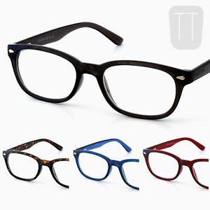 Rimmed-Retro-READING-GLASSES-amp-Pouch-Case-BLACK-Blue-Red-1-0-1-5-2-2-50-3-00