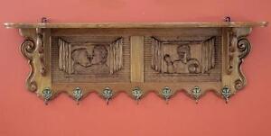 Antique-Vintage-French-Provincial-Wall-Coat-Rack-Entrance-Kitchen-Rack-Oak