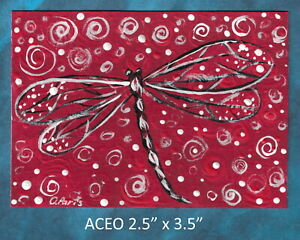Original-ACEO-Dragonfly-miniature-acrylic-painting-not-framed