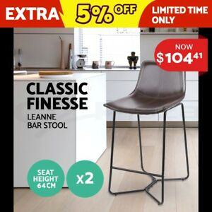 2x Bar Stools LEANNE Kitchen Barstool Bonded Leather Dining Chair Metal Black