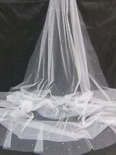 1 Tier Cathedral Cut/No Edge Wedding Bridal Veil Plain Swarovski Crystal Pearls