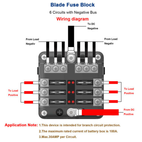 6 Way Electric Blade Fuse Holder Box Block Case 12//24V Car Truck Boat Marine Bus