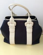 Cole Haan Leather Trimmed And Fabric Handbag Very Chic!