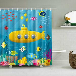 Children S Bathroom Shower Curtains.Details About Children S Cartoon Submarine Design Shower Curtain Art Bathroom Decor Curtains