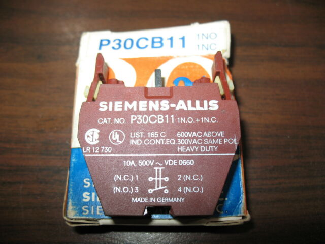 New Siemens P30CB11 Push Button Contact Block (1 N.O. and 1 N.C)