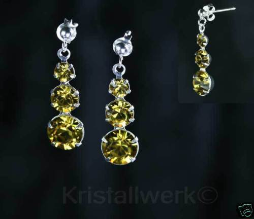 Pendientes 925 plata con Swarovski Crystal Lime