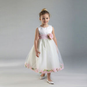Stunning-White-Christening-Flower-Girl-Dress-w-Pink-Petals-Crayon-Kids-USA